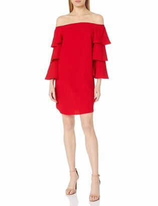 Nanette Lepore Women's Long Shoulder Shift Dress W/Tiered Bell Sleeve