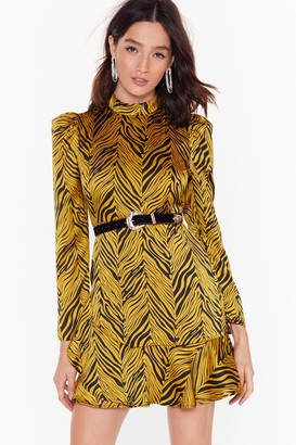 Nasty Gal Womens Zebra Satin High Neck Mini Dress - Metallics - 4