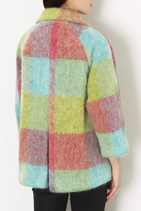 Topshop Fluffy Check Swing Coat