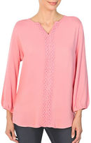 Haggar Embroidered Draped Blouse