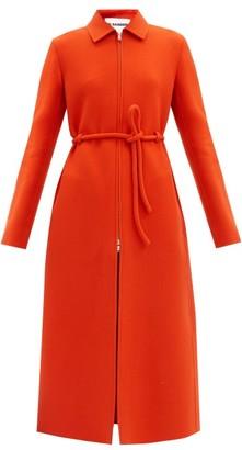 Jil Sander Zip-through Tie-waist Wool Coat - Red