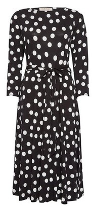 Dorothy Perkins Womens **Billie & Blossom Black Jersey Spot Printed Midi Dress