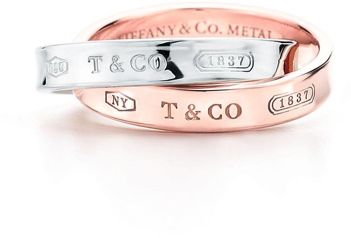 Tiffany & Co. 1837TM Interlocking Circles Ring in Silver and Rubedo Metal