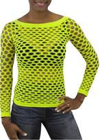 ToBeInStyle Women's Elastic Nylon-Spandex Long Sleeve Fishnet Layer Blouse Top