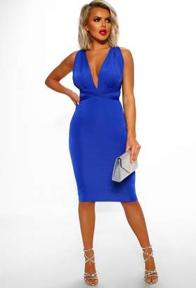 Pink Boutique Monte Carlo Electric Blue Multi Way Slinky Bodycon Midi Dress
