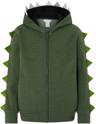Monsoon Boys Ryder Zip Up Dino Hoodie - Khaki