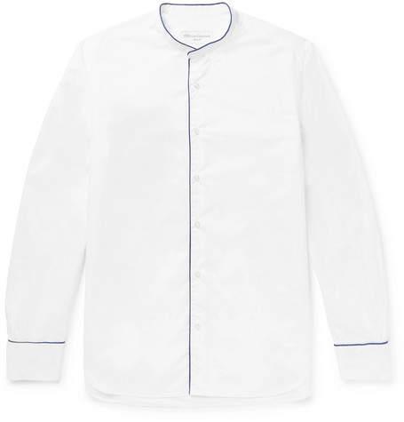 Officine Generale Slim-Fit Grandad-Collar Piped Cotton-Poplin Shirt