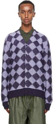 Needles Purple Wool Check Cardigan