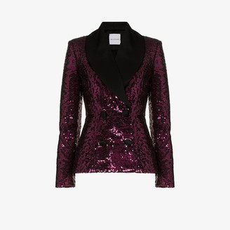 Halpern Satin Lapel Sequin Blazer