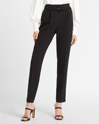 Express High Waisted Belted Pinstripe Ankle Pant