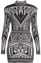 Balmain Open-Back Jacquard Mini Dress