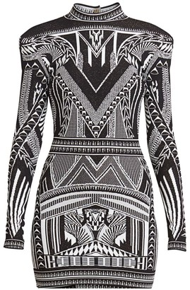 Balmain Open-Back Jacquard Mini Dress