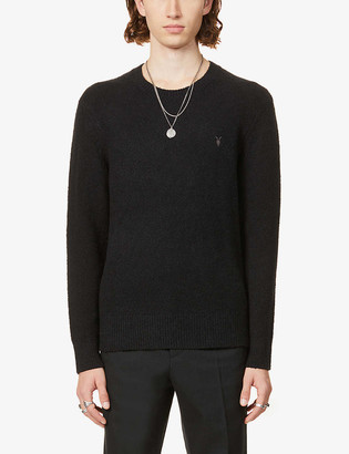 AllSaints Tolnar logo-embroidered cotton-knit jumper