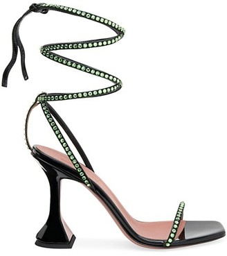 Amina Muaddi Vita Ankle-Wrap Crystal-Embellished Patent Leather Sandals