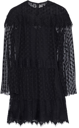 Anna Sui Layered Lace-trimmed Point D'esprit Mini Dress