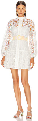 Zimmermann Empire Fit Flare Short Dress in Ivory | FWRD