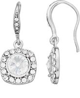 Brilliance+ Brilliance Silver Plated Square Halo Drop Earrings with Swarovski Crystals