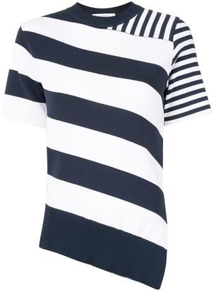 Cédric Charlier Striped Asymmetrical Knit Top