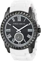 Vince Camuto Women's Swarovski Crystal Accented Gunmetal and Matte White Ceramic Bracelet Watch