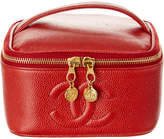 Chanel Red Caviar Leather Horizontal Vanity Case