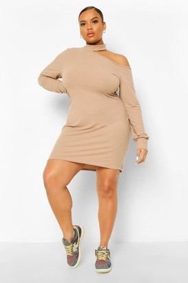 boohoo Plus Soft Rib Cut Out Jumper Dress