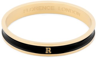 Florence London Initial R Bangle 18Ct Gold Plated With Black Enamel