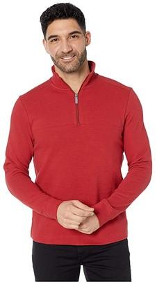Perry Ellis Ottoman Rib Knit 1/4 Zip Long Sleeve Shirt (Black) Men's Clothing