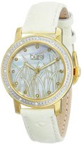 Burgi Women's BUR096YGW Yellow Gold Quartz Watch with White Mother of Pearl Landscape Dial With Cream Leather Strap