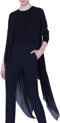 Akris Asymmetric Pleated-Back Cardigan