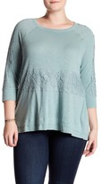 Democracy Lace Inset 3/4 Length Sleeve Tee (Plus Size)