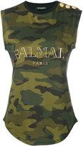Balmain logo print top - women - Cotton - 36