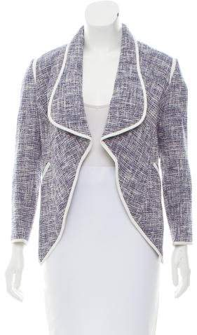 Yigal Azrouel Leather-Trimmed Tweed Jacket