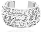 JOTW Silvertone Layered Chain Design Cuff Bangle Bracelet