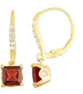 FINE JEWELRY Genuine Garnet Diamond Accent 14K Gold Over Silver Leverback Earrings