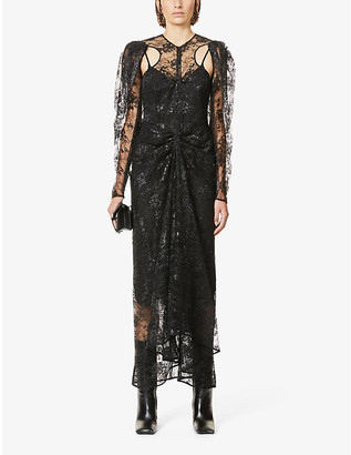Hyun Mi Nielsen Floral-embroidered lace maxi dress