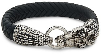 Effy Sterling Silver, Leather Black Onyx Animal Bracelet