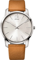 Calvin Klein City Silver Dial Leather Strap Watch