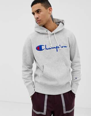 Champion hoodie with large logo in grey