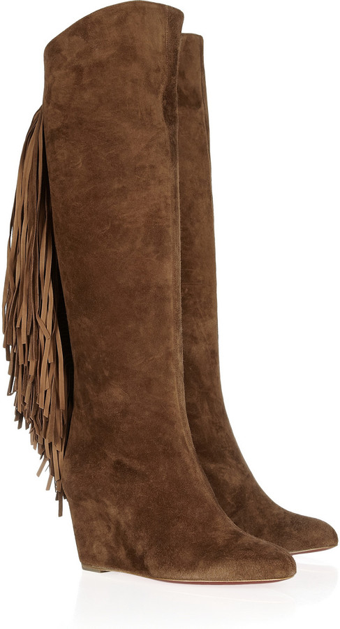 Christian Louboutin Pouliche 70 fringed suede boots