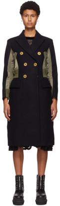 Sacai Navy Wool and Nylon Coat