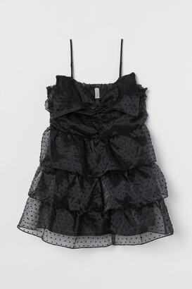H&M H&M+ Bow-detail Flounced Dress - Black