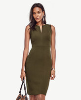 Ann Taylor Petite Doubleweave Split Neck Sheath Dress