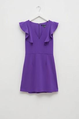 French Connenction Whisper Ruffle V Neck Dress
