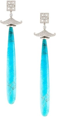 Lydia Courteille Diamond And Agate Drop Earrings