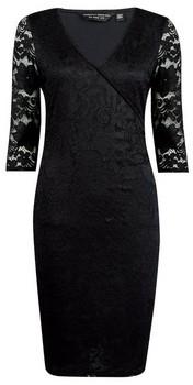 Dorothy Perkins Womens **Black Lace Wrap Bodycon Dress, Black