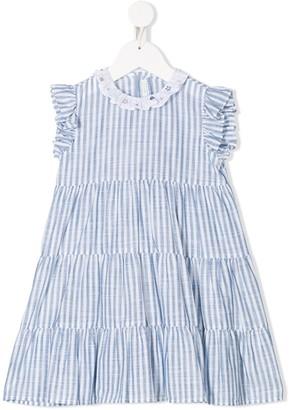 Il Gufo Striped Tiered Cotton Dress