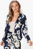 boohoo Olivia Premium Floral Woven Tailored Blazer navy