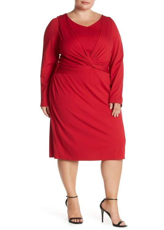 Twist Front V-Neck Dress (Plus Size)