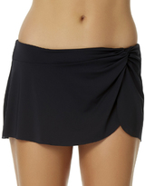 Anne Cole Black Knot-Front Sarong Skirted Bikini Bottoms