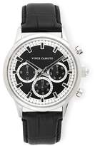 Vince Camuto Triple-Subdial Leather Band Watch
